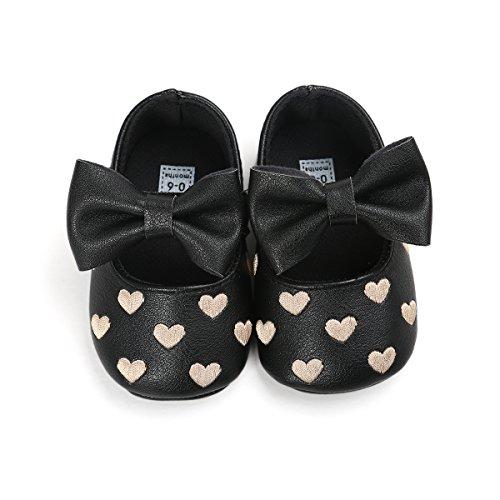 Itaar bebé niña Moccasins Bow piel sintética corazón bordado suave soled zapatos para bebés niños negro negro Talla:6-12 meses negro