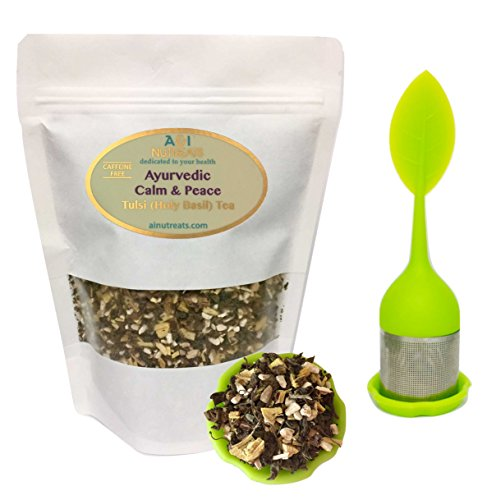 Ayurvedic Calm & Peace Tulsi (Holy Basil) tea - Brings clarity and stress relief - Organic Loose Leaf Tulsi, Ashwagandha and Licorice Tea (with tea Infuser, 3 oz.) by A&I Nutreats