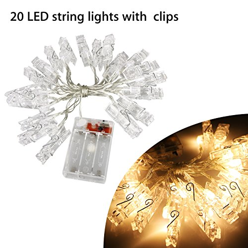 EEEKit Waterproof LED Photo String Lights 20 Photo Clips Battery Powered Fairy Twinkle Lights, Wedding Party Christmas Home Decor Lights for Hanging Photos, Cards and Artwork