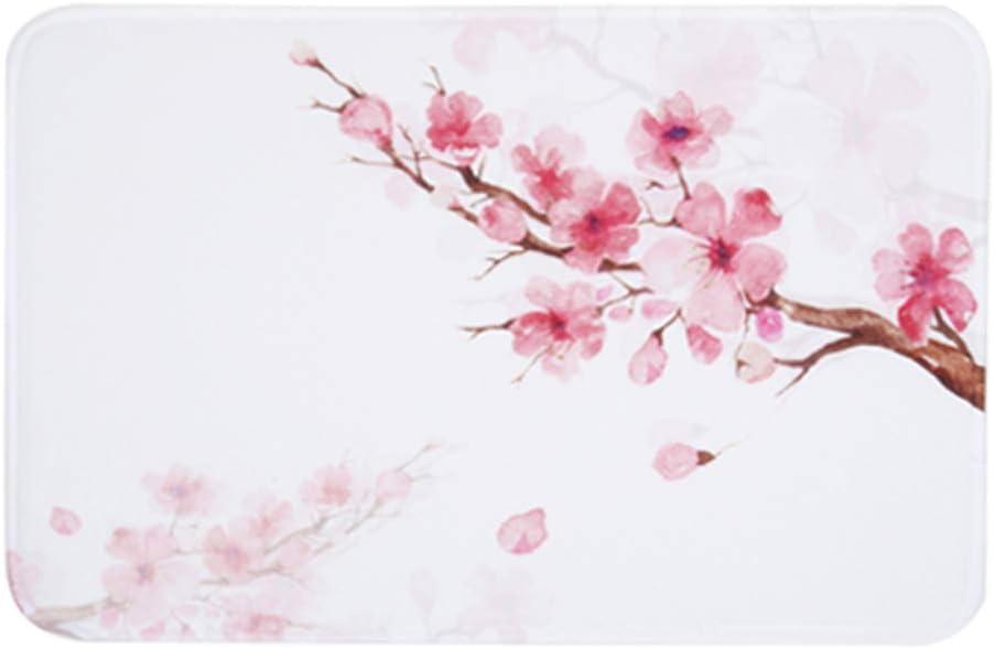 LIVILAN Pink Cherry Blossom Bathroom Rug Mat, Thick Soft Memory Foam Non Slip Floral Bathroom Floor Carpet, Decorative Bath Rug Machine Washable, 16