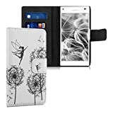 kwmobile Chic synthetic leather case for the Sony Xperia Z5 Compact with convenient stand function - Design dandelion elves in black white