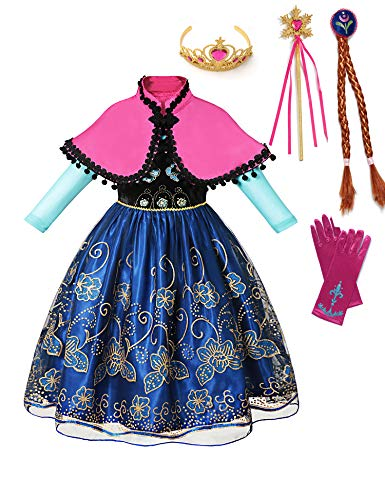 aibeiboutique Princess Anna Costume Halloween Cosplay Deluxe Dress Up for Girls (Anna Costume 2, 6-7 -