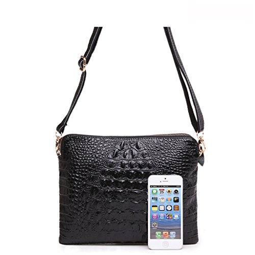 Black Women Leather Crocodile Embossed MICOM Shoulder Bag Crossbody PU Trendy For wCnWWxf