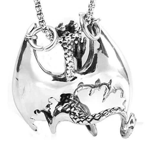 dfb2956670a9 Gnzoe Joyería Collar de Hombres Acero Inoxidable Dragón Vuelo Colgante  Cadena de Hombres Plata ...