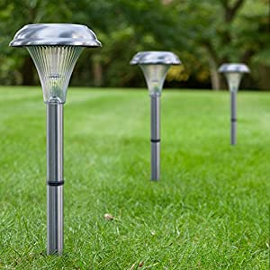 Solar Garden Lights - 8 Set. Beautiful Brushed Stainless Steel. Easy NO WIRES Install. Transform Your Garden Path Yard & Driveway. All Weather, Stylish Design & 1 Foot Tall!
