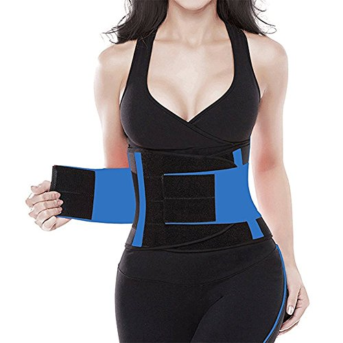 Waist Trimmer Belt Back Support Adjustable Abdominal Elastic Waist Trainer Hourglass Body Shaper Girdle Belt (Blue, (Latex Free Reinforced Elastic)
