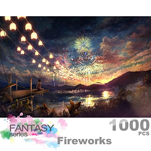 Ingooood Fantasy Series- Sky Fireworks_IG-0046- Jigsaw Puzzles 1000 Pieces Entertainment Toys for Adult Special Graduation or Birthday Gift Home Decor