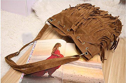 fashion brief vintage tassel bucket bag drawstring shoulder messenger bag suede women's handbag Brown