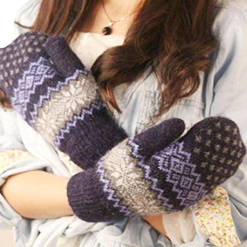 DZT1968® Knit Wool Women Girl Snowflake Winter Keep Warm Mittens Gloves (Navy)