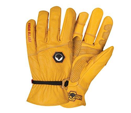 StoneBreaker Gloves Horseman Large Work Glove, Large, Yellow