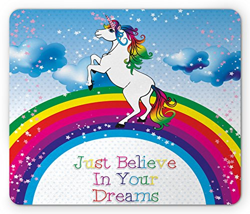 Rainbow Optical Mouse - Ambesonne Kids Mouse Pad, Unicorn Surreal Myth Creature Before Rainbow Clouds Star Fantasy Girls Fairytale Image, Standard Size Rectangle Non-Slip Rubber Mousepad, Multicolor