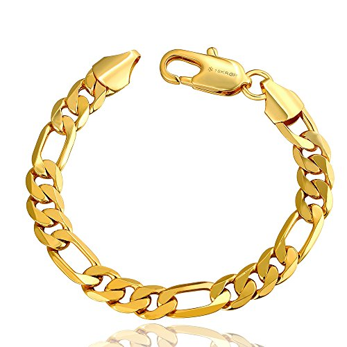 Acxico Yellow Gold Tone Metal Unisex Figaro Chain Bangle Bracelet 10mm Width,7.8