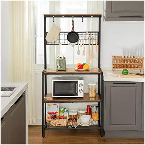 VASAGLE ALINRU Kitchen Bakers Rack Cupboard with 10 Hooks, Mesh Panel, 3 Shelves, and Adjustable Feet, for Microwave…