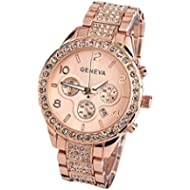 Geneva Women Fashion Luxury Crystal Wrist Watch,Outsta Unisex Stylish Quartz Watch (Rose Gold)