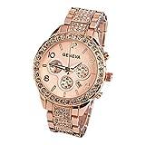 Geneva Women Fashion Luxury Crystal Wrist Watch,Outsta Unisex Stylish Quartz Watch (Rose Gold)
