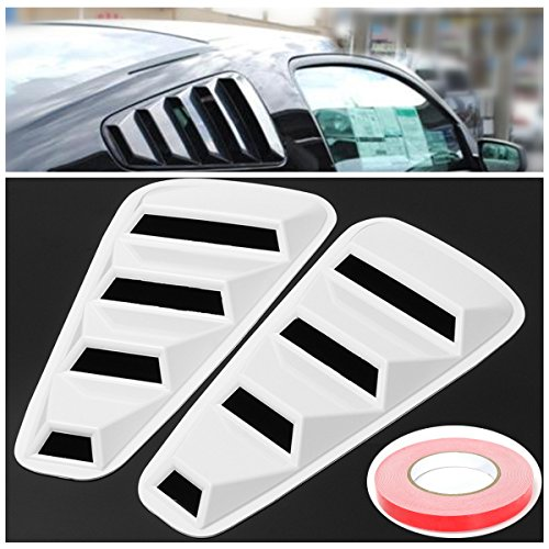 Hitommy Pair White Side Window Louvers Scoop Cover Vent for Ford Mustang 2005-2014