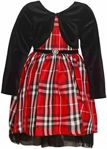 Rare Editions Big Girls 7-16 Holiday Day Christmas Plaid Dress and Black  Velvet Bolero 2595c2400