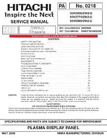 hitachi 55hdt79 service manual hitachi amazon com books rh amazon com Hitachi EX 200 Service Manuals Troubleshoot Hitachi Projection TV