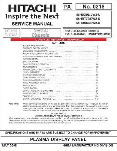 Hitachi 55HDT79 service manual: Hitachi: Amazon.com: Books on