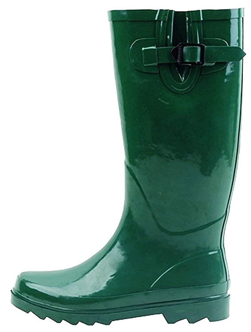 Green G4U Women's Rain Boots Multiple Styles color Mid Calf Wellies Buckle Fashion Rubber Knee High Snow shoes