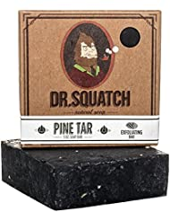 Dr. Squatch Pine Tar Soap – Mens Soap with Natural Woodsy Scent and Skin Scrub Exfoliation – Black Soap Bar Handmade with Pine Tar, Olive, Coconut Organic Oils in USA