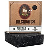Dr. Squatch Pine Tar Soap - Mens Soap with Natural Woodsy Scent and Skin Scrub Exfoliation - Black Soap Bar Handmade with Pine Tar, Olive, Hemp Organic Oils in USA