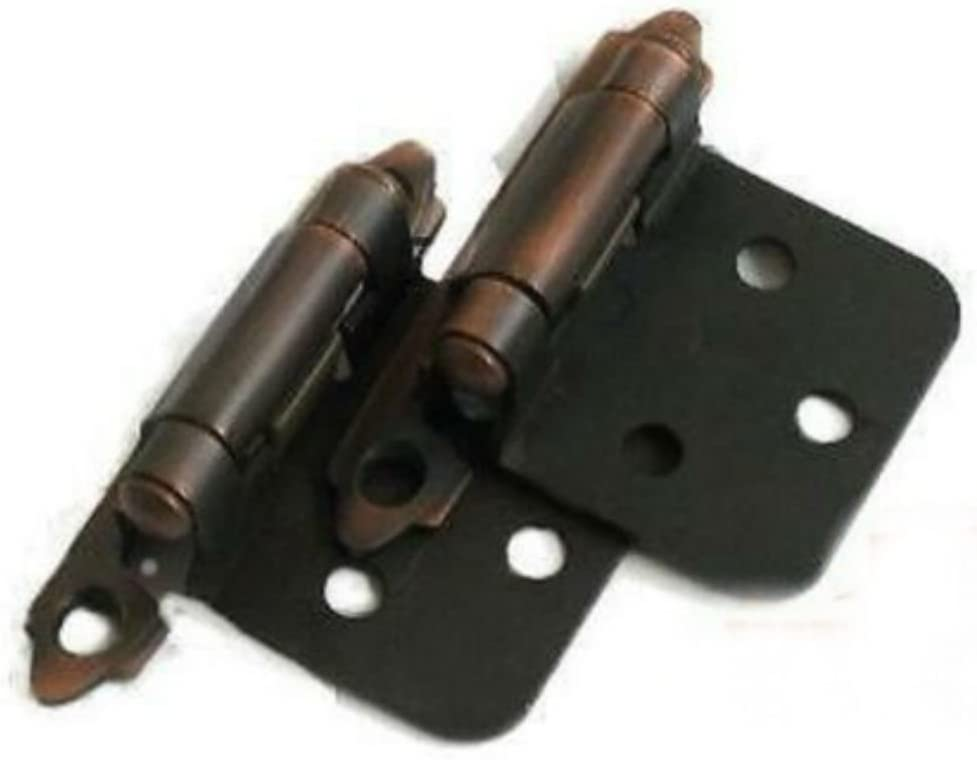 Pair Cabinet Hardware Flush Hinges Dark Brushed Antique
