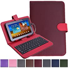 "HDE Diamond Stitch Univeral Hard Leather Folding Folio Case Cover with Micro USB Keyboard for 7"" Tablet (Red)"