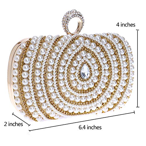 For Handbags Chain Evening Clutches Womens Purse Wedding Bags Gold Dress Pearls wxPHqtOw