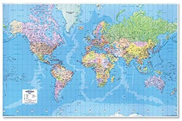 Map Marketing World Map D Effect Giant Unframed Miles To - World map to scale