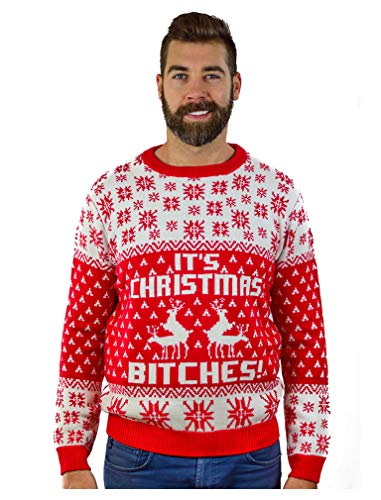 Tstars It's Christmas Ugly Sweater Funny Humping Reindeer Men Women Sweater X-Large Multicolor ()