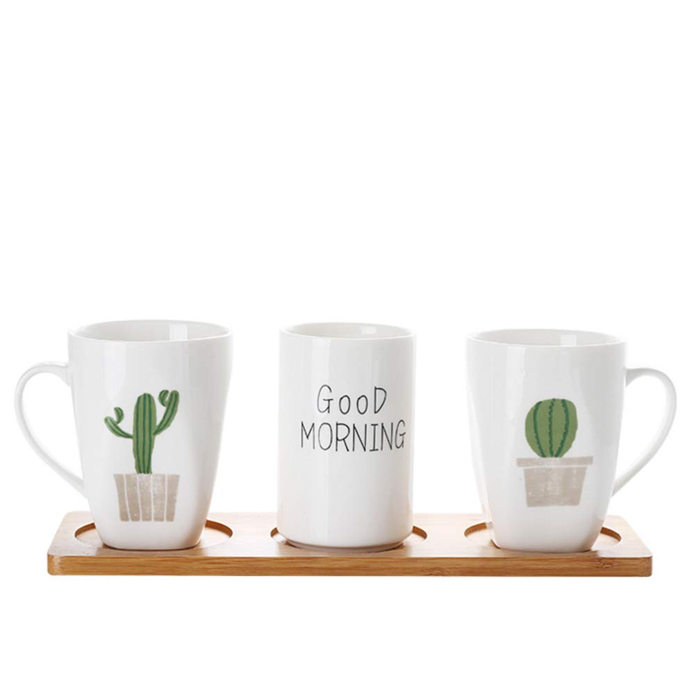 Green Cactus Design Ceramic Bathroom Accessory Set,Including 2 Tumbler,1 Toothbrush Holder,1 Wood Tray,4 Pieces Bathroom Set,Home Decor (Cactus Pattern-1)