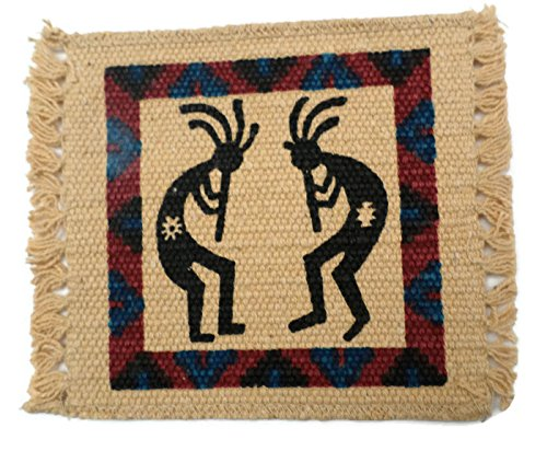 Kokopelli Black Red and Blue Two Designs Coaster Set
