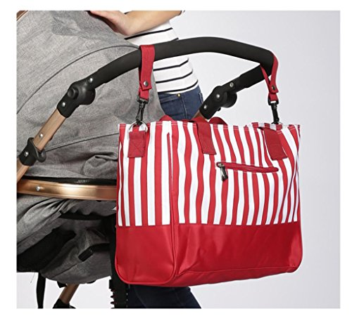 Pañal Bolsa Mochila Multi-función Pañal Cambio Bolso - Grande, Moda, Durable Premium Calidad Elegante Baby Cambio Bag , black Red