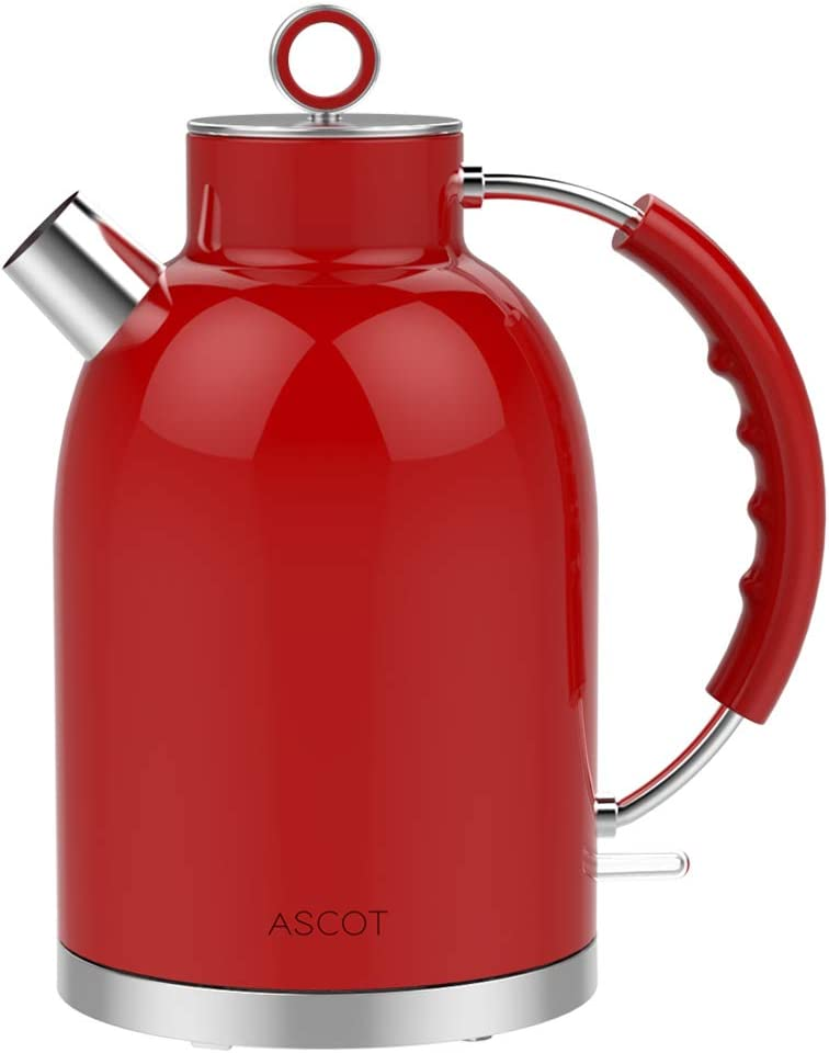 ASCOT 1.7L Kettle Electric, BPA-Free Hot Water Boiler Stainless Steel Tea Kettle, 1500W Fast Boiling Heater Retro Kettle, Cordless with Auto Shut-Off & Boil Dry Protection, Red