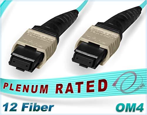 FiberCablesDirect - 15M OM4 MTP MTP 12 Fiber Patch Cable | 100G Plenum Multi-Fiber 50/125 MTP to MTP Multimode Jumper 15 Meter (49.21ft) | B Type Polarity | 1/10/40/100g mmf qsfp 100gbase 12f MTP