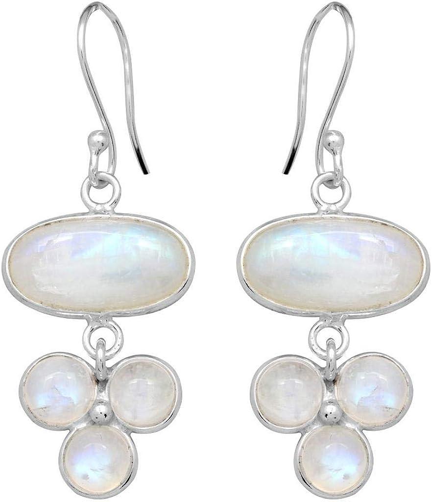 Rainbow Moonstone Gemstone Ladies Solid 925 Sterling Silver Earrings Jewelry