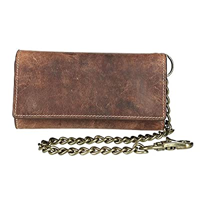 CTM Men's Crazy Horse Leather RFID Long Trifold Chain Wallet