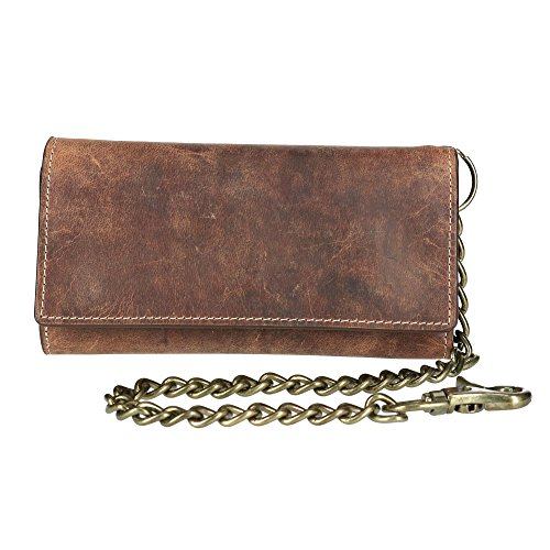 CTM Men's Crazy Horse Leather RFID Long Trifold Chain Wallet, Brown