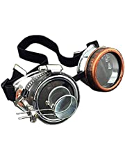 Vintage Steampunk Goggles Glasses with Gear and Double Ocular Punk Goth Cosplay