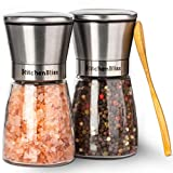 Professional Salt and Pepper Grinder Set – Premium Stainless Steel Salt and Pepper Shakers with Ceramic Spice Grinder Mill for Adjustable Coarseness - Free Bonus.