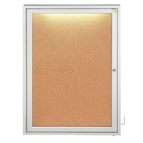 Ghent CPA13624K 36x24 inches 1-Door Alum Frame Enclosed Natural Cork Bulletin Board with Concealed Lighting - Made in the (1 Door Enclosed Natural)