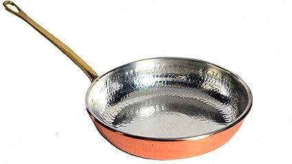 Sartén de cobre esmaltado cocina profesional 27 cm, diseño con asa de latón