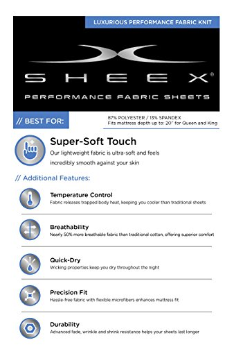 SHEEX - ORIGINAL PERFORMANCE Sheet Set with 2 Pillowcases, Ultra-Soft Fabric Transfers Body Heat and Breathes Better than Traditional Cotton, Carolina Blue (Queen) by Sheex (Image #7)'