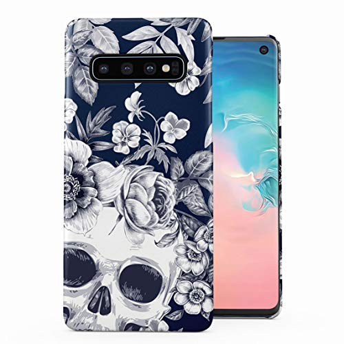 Tropical Floral Dead Pirate Skull Indie Hype Hipster Tumblr Plastic Phone Snap On Back Case Cover Shell Compatible with Samsung Galaxy S10