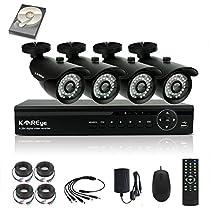 KAREye 1080N Security Camera System 4 Channel Surveillance DVR, 4PCS 720P AHD Bullet IR-Cut IP66 Weatherproof Cameras with 1TB Hard Drive