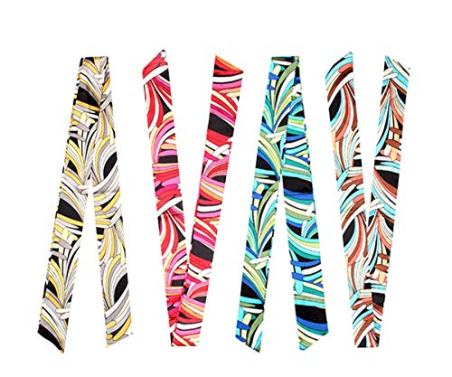 4-Pair Twilly Handbag Handle Wrap Silk Ribbon Band Scarf for Tote (Stripe Twilly) (Make Silk Scarf)