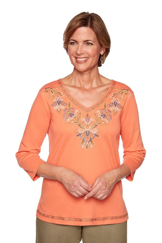 Alfred Dunner Women's Lake Tahoe Embroidered Yoke 3/4 Sleeve Top (Petite Medium) by Alfred Dunner