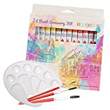 Acrylic Paint Set 24 Colours Complete with Brushes and Palette - For the Beginner or Professional Artist - Perfect for Paper, Canvas and Arts and Crafts