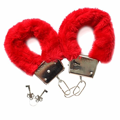 FEESHOW Furry Fuzzy Handcuffs Soft Metal Wrist Cuffs Fur Party Game Costume Red One size